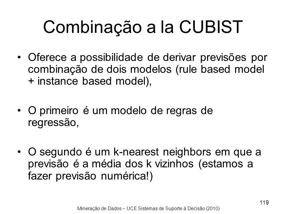 Mineração de Dados – UCE Sistemas de Suporte à Decisão (2010) 119 Combinação a la CUBIST Oferece a possibilidade de derivar previsões por combinação d