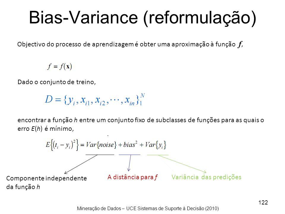 Mineração de Dados – UCE Sistemas de Suporte à Decisão (2010) 122 Bias-Variance (reformulação) Objectivo do processo de aprendizagem é obter uma aprox