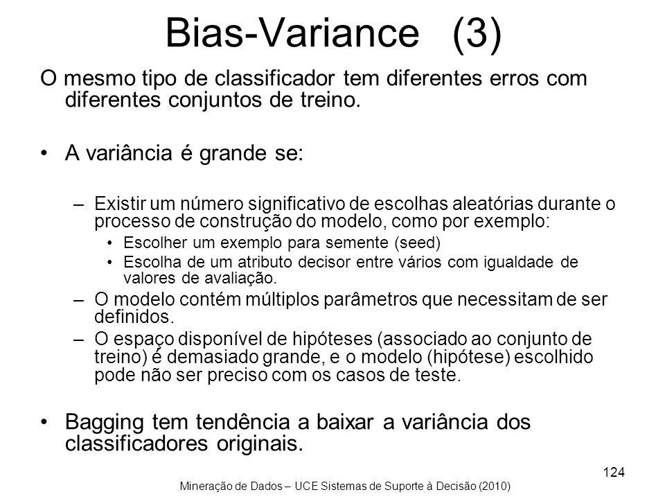 Mineração de Dados – UCE Sistemas de Suporte à Decisão (2010) 124 Bias-Variance (3) O mesmo tipo de classificador tem diferentes erros com diferentes