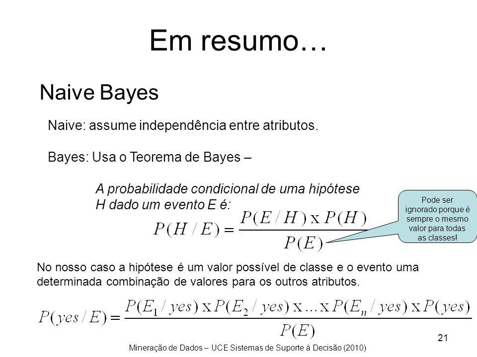 Mineração de Dados – UCE Sistemas de Suporte à Decisão (2010) 21 Naive Bayes Naive: assume independência entre atributos. Bayes: Usa o Teorema de Baye