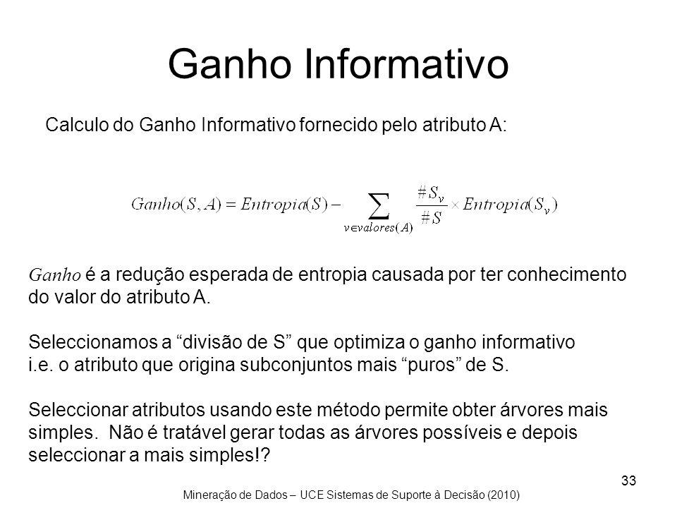 Mineração de Dados – UCE Sistemas de Suporte à Decisão (2010) 33 Ganho Informativo Calculo do Ganho Informativo fornecido pelo atributo A: Ganho é a r
