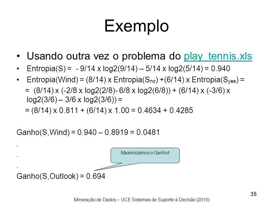 Mineração de Dados – UCE Sistemas de Suporte à Decisão (2010) 35 Exemplo Usando outra vez o problema do play_tennis.xlsplay_tennis.xls Entropia(S) = -