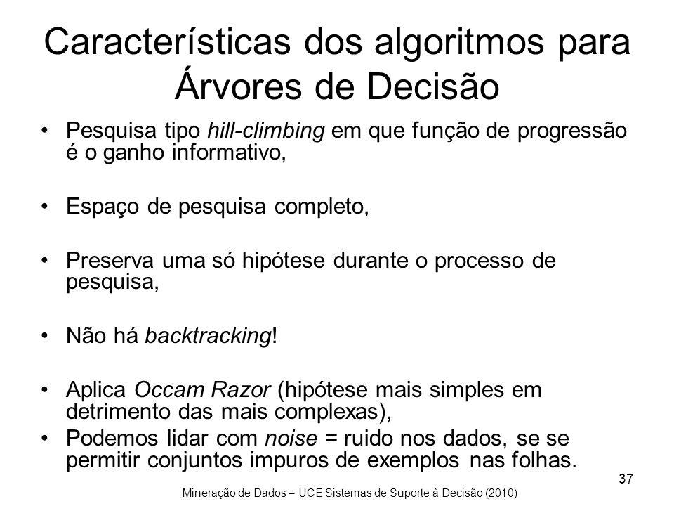 Mineração de Dados – UCE Sistemas de Suporte à Decisão (2010) 37 Características dos algoritmos para Árvores de Decisão Pesquisa tipo hill-climbing em