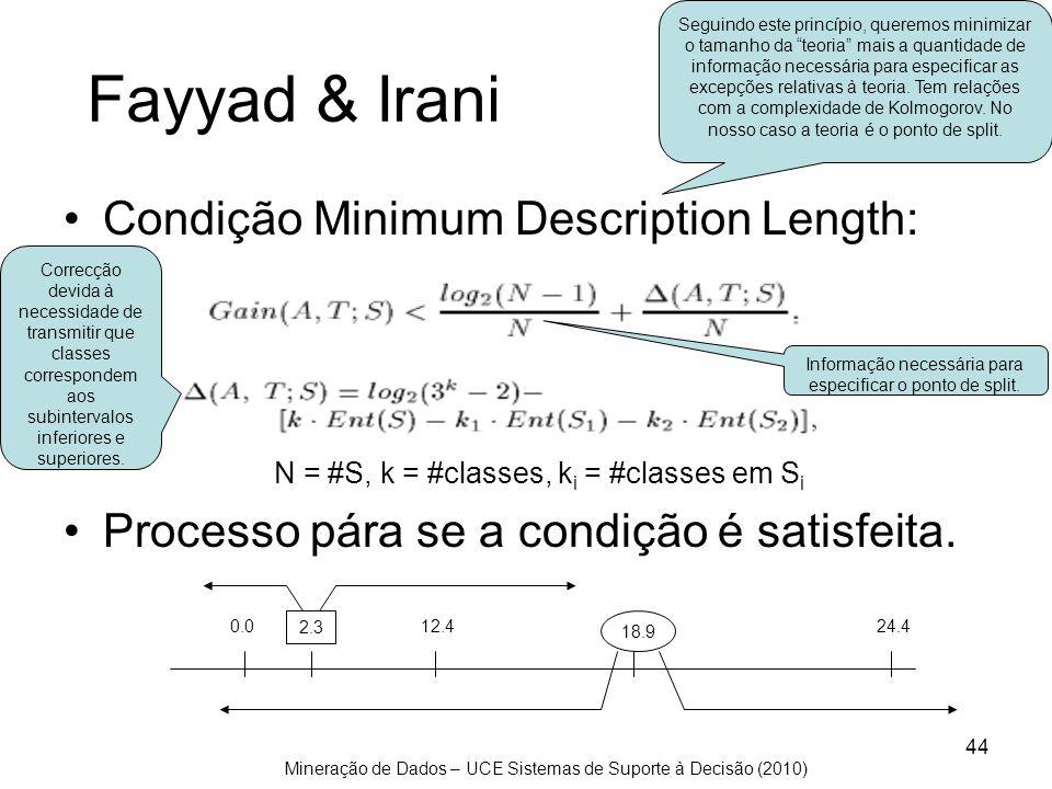 Mineração de Dados – UCE Sistemas de Suporte à Decisão (2010) 44 Fayyad & Irani Condição Minimum Description Length: N = #S, k = #classes, k i = #clas