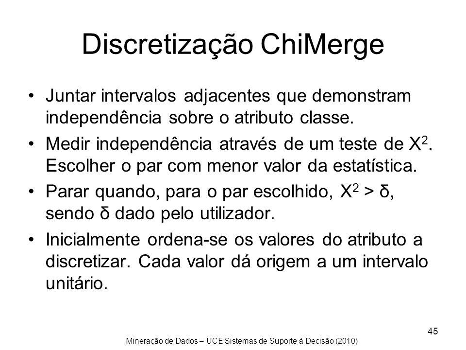Mineração de Dados – UCE Sistemas de Suporte à Decisão (2010) 45 Discretização ChiMerge Juntar intervalos adjacentes que demonstram independência sobr