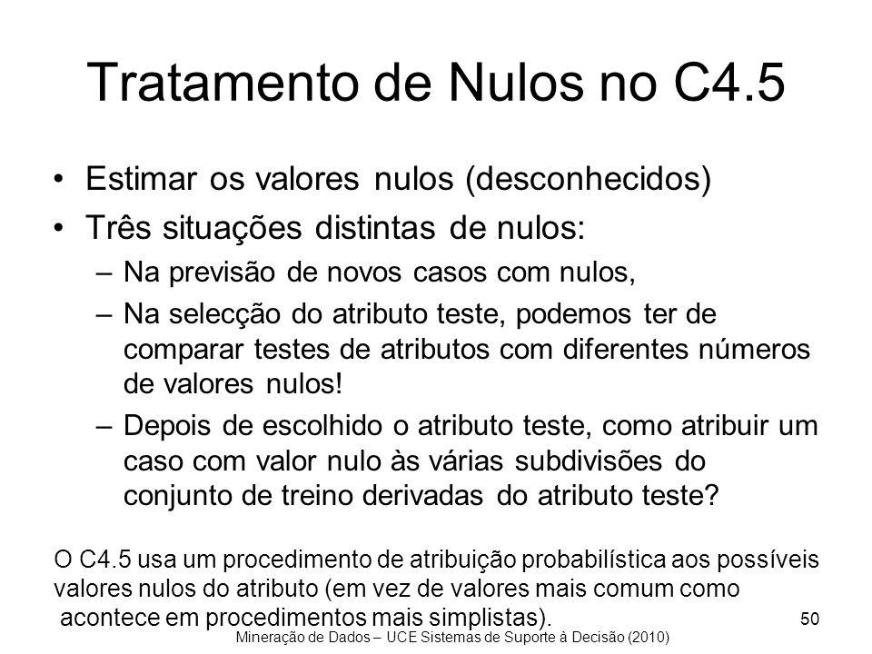 Mineração de Dados – UCE Sistemas de Suporte à Decisão (2010) 50 Tratamento de Nulos no C4.5 Estimar os valores nulos (desconhecidos) Três situações d