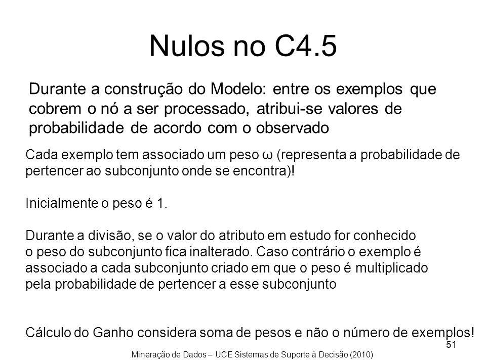 Mineração de Dados – UCE Sistemas de Suporte à Decisão (2010) 51 Nulos no C4.5 Durante a construção do Modelo: entre os exemplos que cobrem o nó a ser
