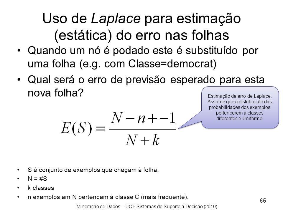 Mineração de Dados – UCE Sistemas de Suporte à Decisão (2010) Uso de Laplace para estimação (estática) do erro nas folhas Quando um nó é podado este é