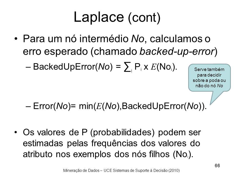 Mineração de Dados – UCE Sistemas de Suporte à Decisão (2010) Laplace (cont) Para um nó intermédio No, calculamos o erro esperado (chamado backed-up-e