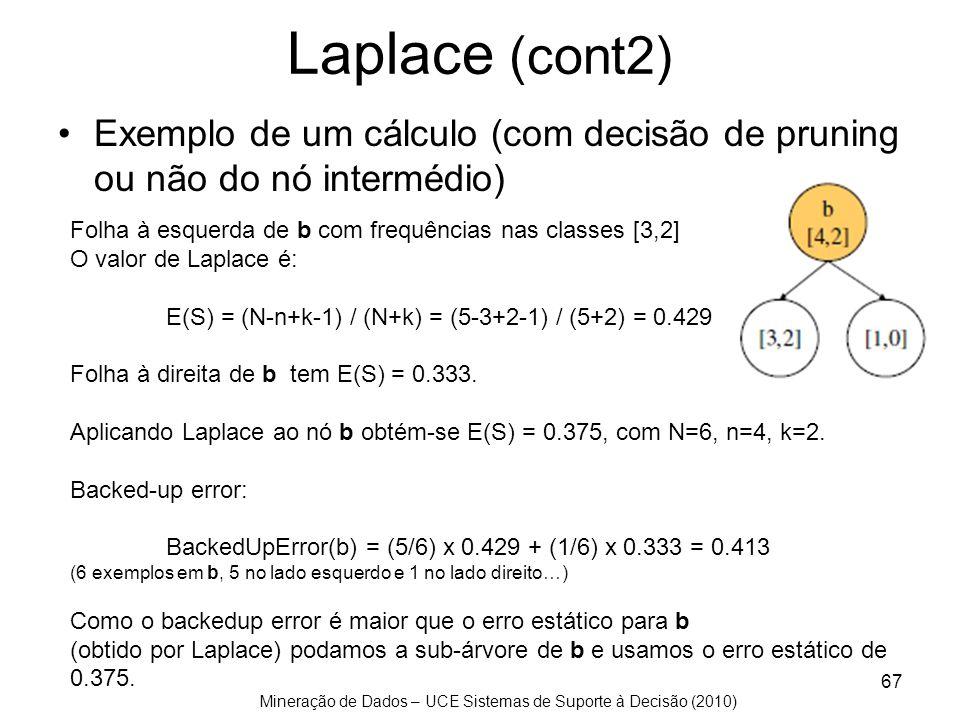 Mineração de Dados – UCE Sistemas de Suporte à Decisão (2010) Laplace (cont2) Exemplo de um cálculo (com decisão de pruning ou não do nó intermédio) 6