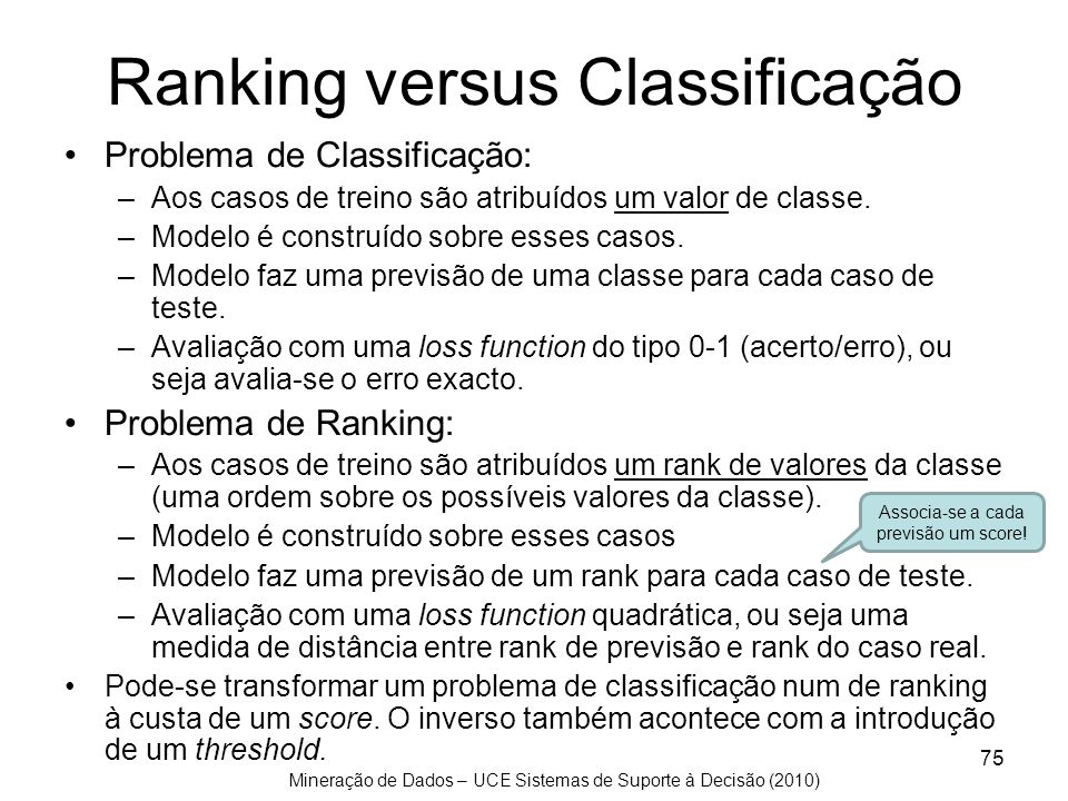 Mineração de Dados – UCE Sistemas de Suporte à Decisão (2010) 75 Ranking versus Classificação Problema de Classificação: –Aos casos de treino são atri