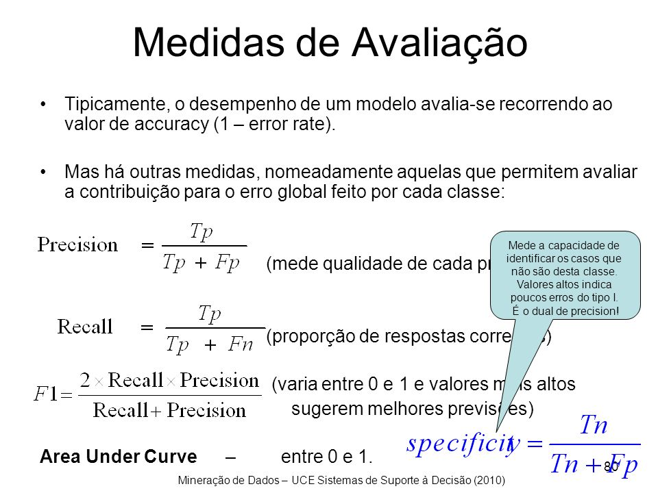 Mineração de Dados – UCE Sistemas de Suporte à Decisão (2010) 80 Medidas de Avaliação Tipicamente, o desempenho de um modelo avalia-se recorrendo ao v