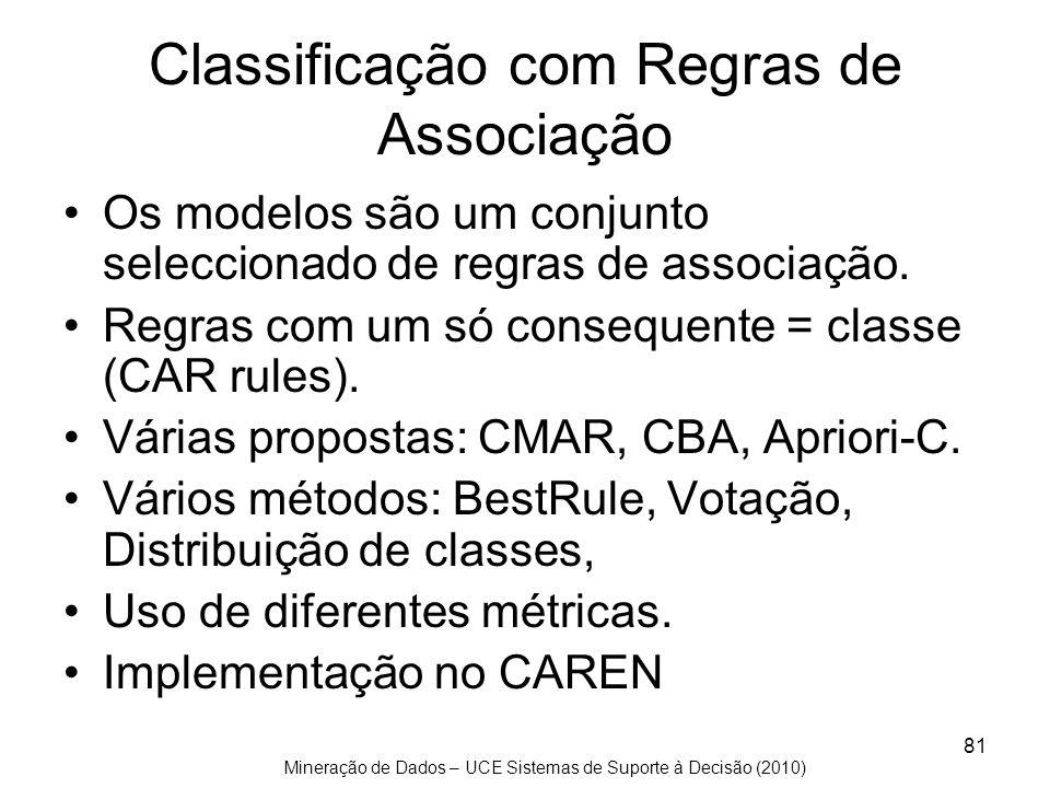 Mineração de Dados – UCE Sistemas de Suporte à Decisão (2010) 81 Classificação com Regras de Associação Os modelos são um conjunto seleccionado de reg