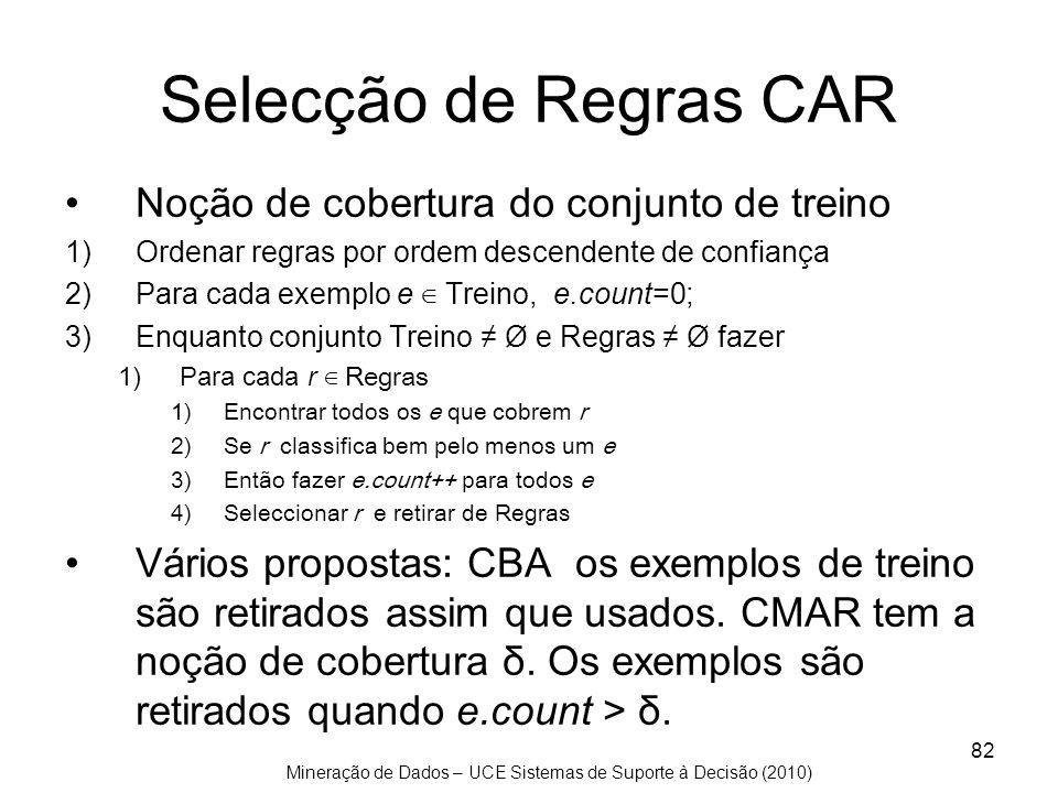 Mineração de Dados – UCE Sistemas de Suporte à Decisão (2010) 82 Selecção de Regras CAR Noção de cobertura do conjunto de treino 1)Ordenar regras por