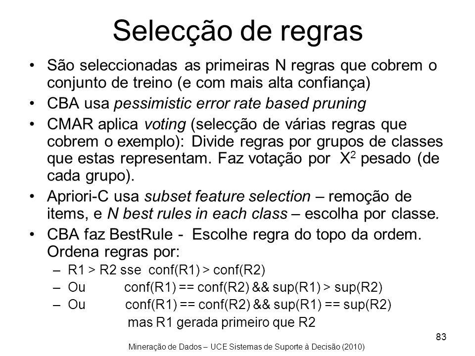 Mineração de Dados – UCE Sistemas de Suporte à Decisão (2010) 83 Selecção de regras São seleccionadas as primeiras N regras que cobrem o conjunto de t