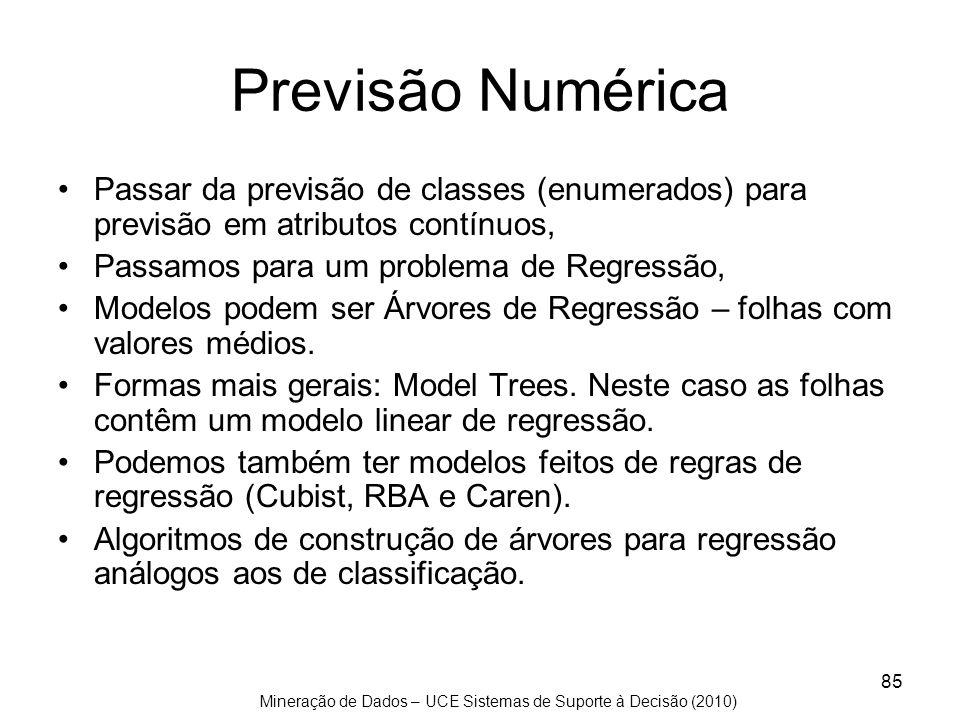 Mineração de Dados – UCE Sistemas de Suporte à Decisão (2010) 85 Previsão Numérica Passar da previsão de classes (enumerados) para previsão em atribut