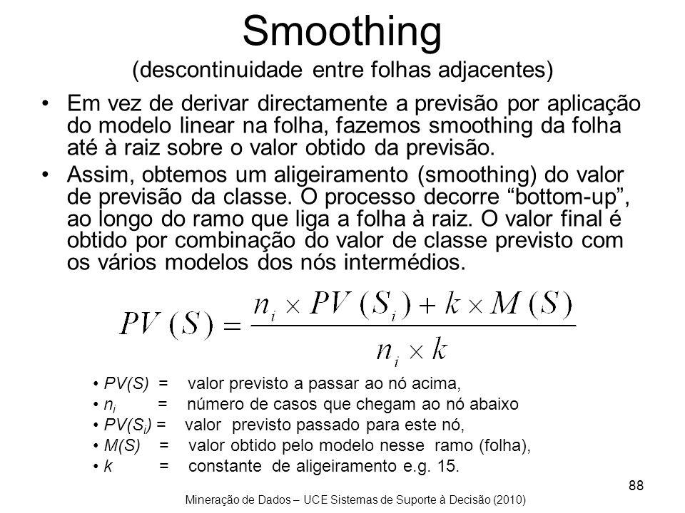 Mineração de Dados – UCE Sistemas de Suporte à Decisão (2010) 88 Smoothing (descontinuidade entre folhas adjacentes) Em vez de derivar directamente a