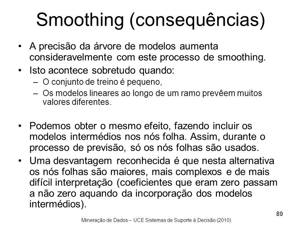 Mineração de Dados – UCE Sistemas de Suporte à Decisão (2010) 89 Smoothing (consequências) A precisão da árvore de modelos aumenta consideravelmente c