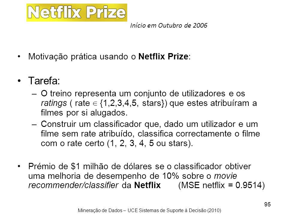 Mineração de Dados – UCE Sistemas de Suporte à Decisão (2010) 95 Motivação prática usando o Netflix Prize: Tarefa: –O treino representa um conjunto de