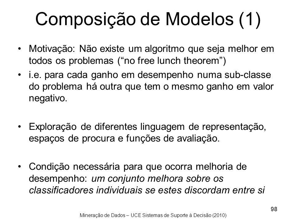 Mineração de Dados – UCE Sistemas de Suporte à Decisão (2010) 98 Composição de Modelos (1) Motivação: Não existe um algoritmo que seja melhor em todos