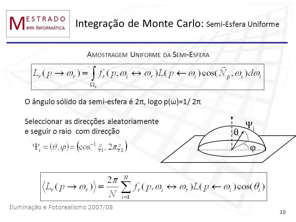 Integração de Monte Carlo: Semi-Esfera Uniforme Iluminação e Fotorealismo 2007/08 10 A MOSTRAGEM U NIFORME DA S EMI -E SFERA O ângulo sólido da semi-e