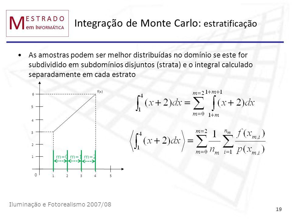 Integração de Monte Carlo: estratificação Iluminação e Fotorealismo 2007/08 19 As amostras podem ser melhor distribuídas no domínio se este for subdiv