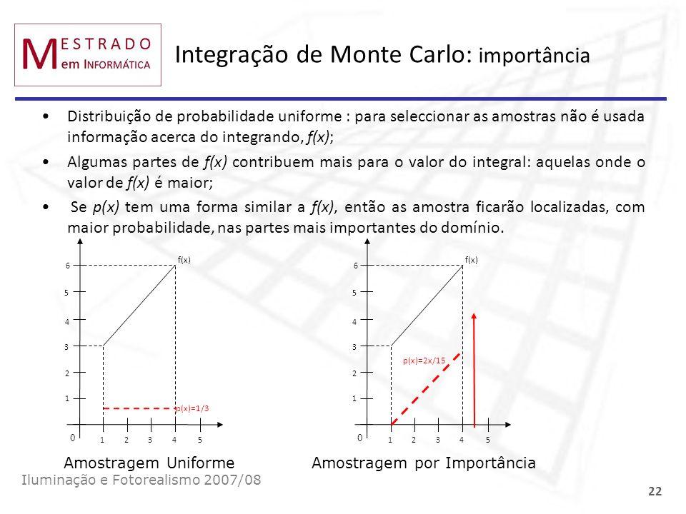 Integração de Monte Carlo: importância Iluminação e Fotorealismo 2007/08 22 Distribuição de probabilidade uniforme : para seleccionar as amostras não