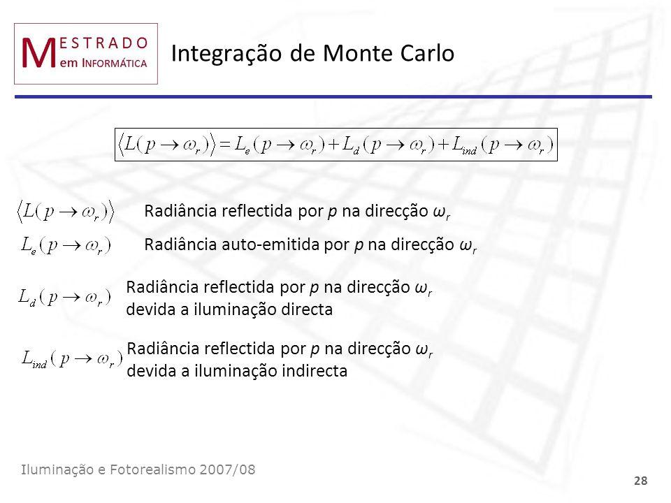 Integração de Monte Carlo Iluminação e Fotorealismo 2007/08 28 Radiância reflectida por p na direcção ω r Radiância auto-emitida por p na direcção ω r