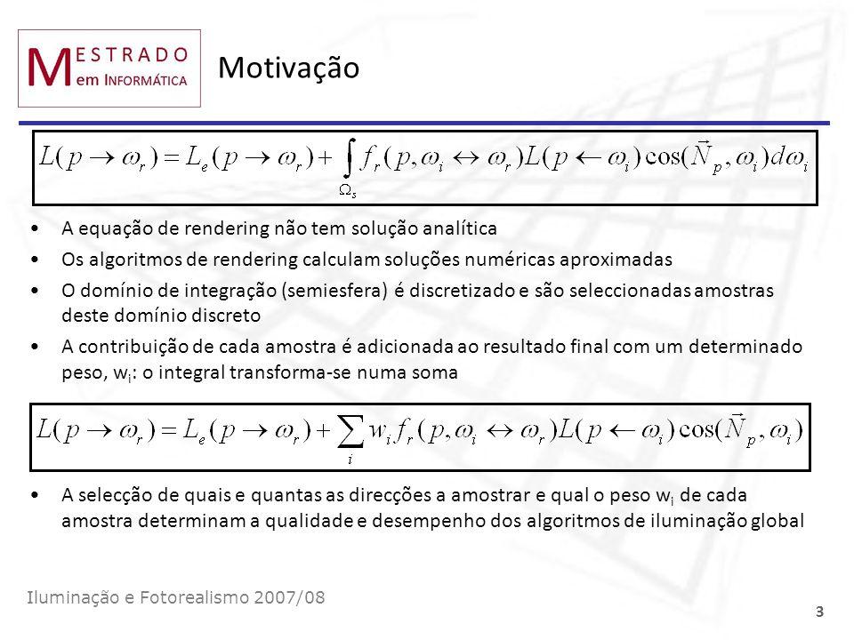 Motivação A equação de rendering não tem solução analítica Os algoritmos de rendering calculam soluções numéricas aproximadas O domínio de integração