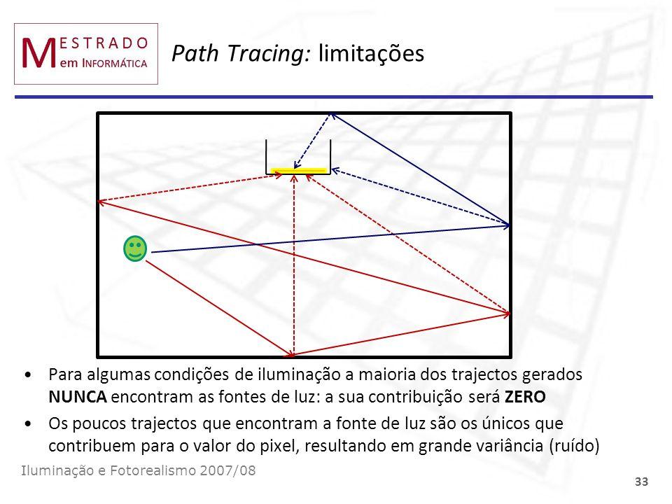 Path Tracing: limitações Para algumas condições de iluminação a maioria dos trajectos gerados NUNCA encontram as fontes de luz: a sua contribuição ser