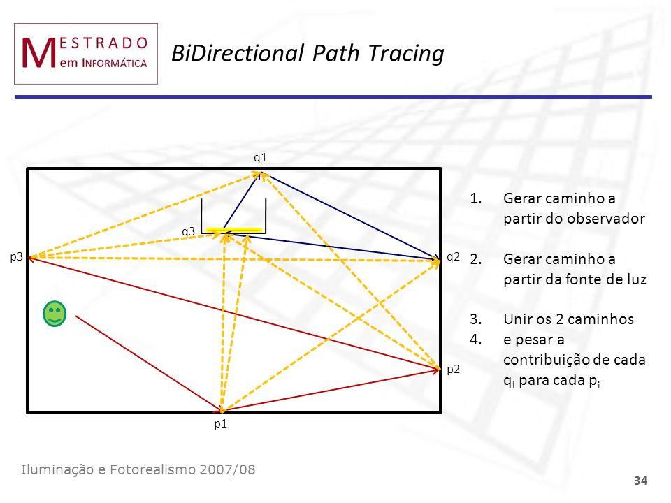 BiDirectional Path Tracing Iluminação e Fotorealismo 2007/08 34 p1 p2 p3 q1 q2 q3 1.Gerar caminho a partir do observador 2.Gerar caminho a partir da f