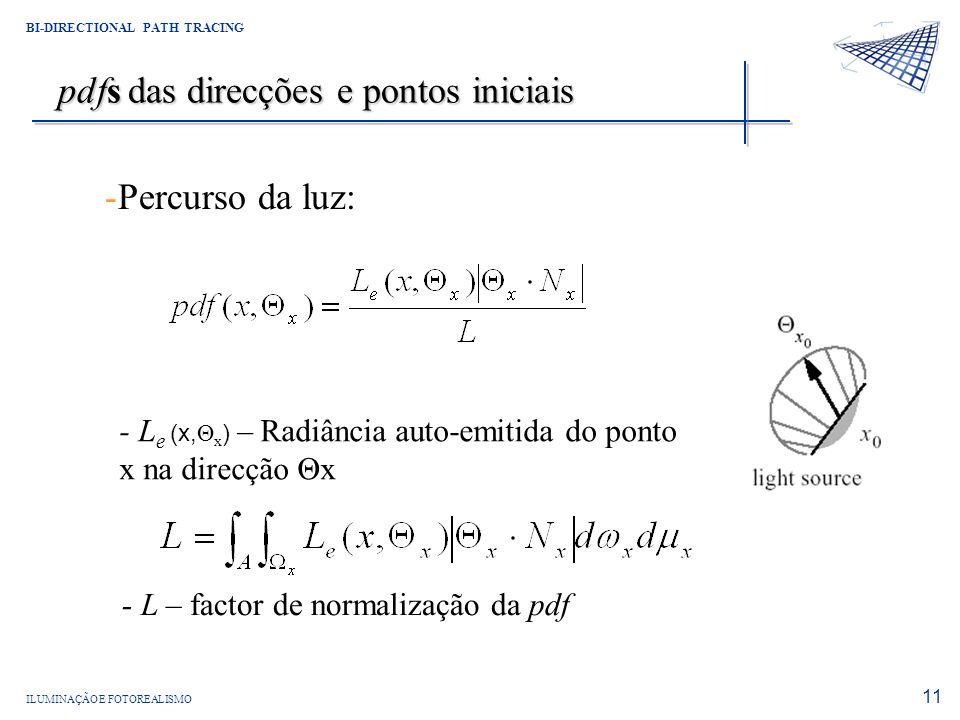ILUMINAÇÃO E FOTOREALISMO BI-DIRECTIONAL PATH TRACING 11 pdfs das direcções e pontos iniciais -Percurso da luz: - L e (x, Θ x ) – Radiância auto-emiti