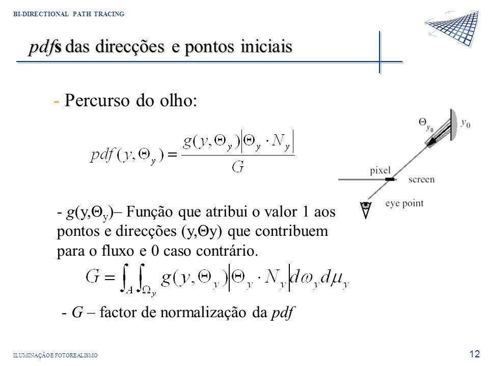 ILUMINAÇÃO E FOTOREALISMO BI-DIRECTIONAL PATH TRACING 12 pdfs das direcções e pontos iniciais - Percurso do olho: - g(y,Θ y )– Função que atribui o va
