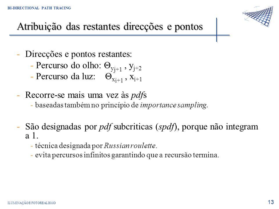 ILUMINAÇÃO E FOTOREALISMO BI-DIRECTIONAL PATH TRACING 13 Atribuição das restantes direcções e pontos -Direcções e pontos restantes: - Percurso do olho