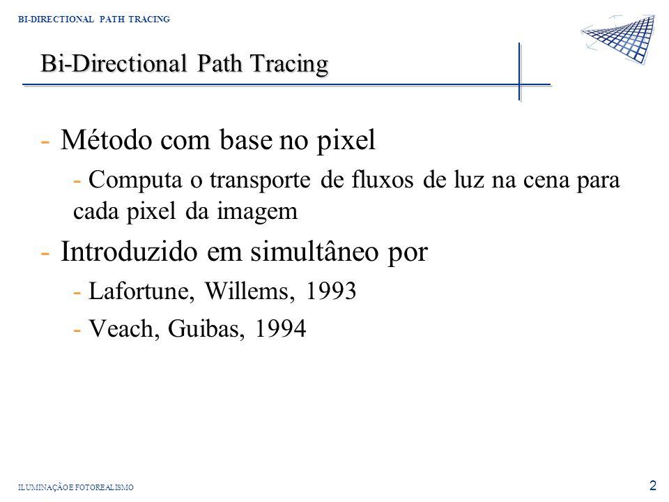 ILUMINAÇÃO E FOTOREALISMO BI-DIRECTIONAL PATH TRACING 2 Bi-Directional Path Tracing -Método com base no pixel - Computa o transporte de fluxos de luz