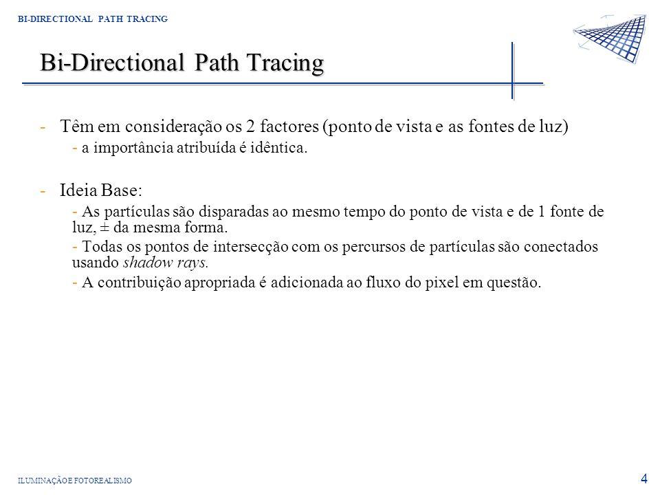 ILUMINAÇÃO E FOTOREALISMO BI-DIRECTIONAL PATH TRACING 4 Bi-Directional Path Tracing -Têm em consideração os 2 factores (ponto de vista e as fontes de