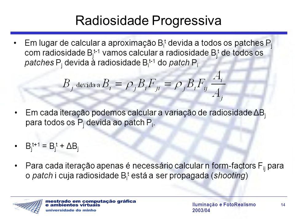 Iluminação e FotoRealismo 14 2003/04 Radiosidade Progressiva Em lugar de calcular a aproximação B i t devida a todos os patches P j com radiosidade B