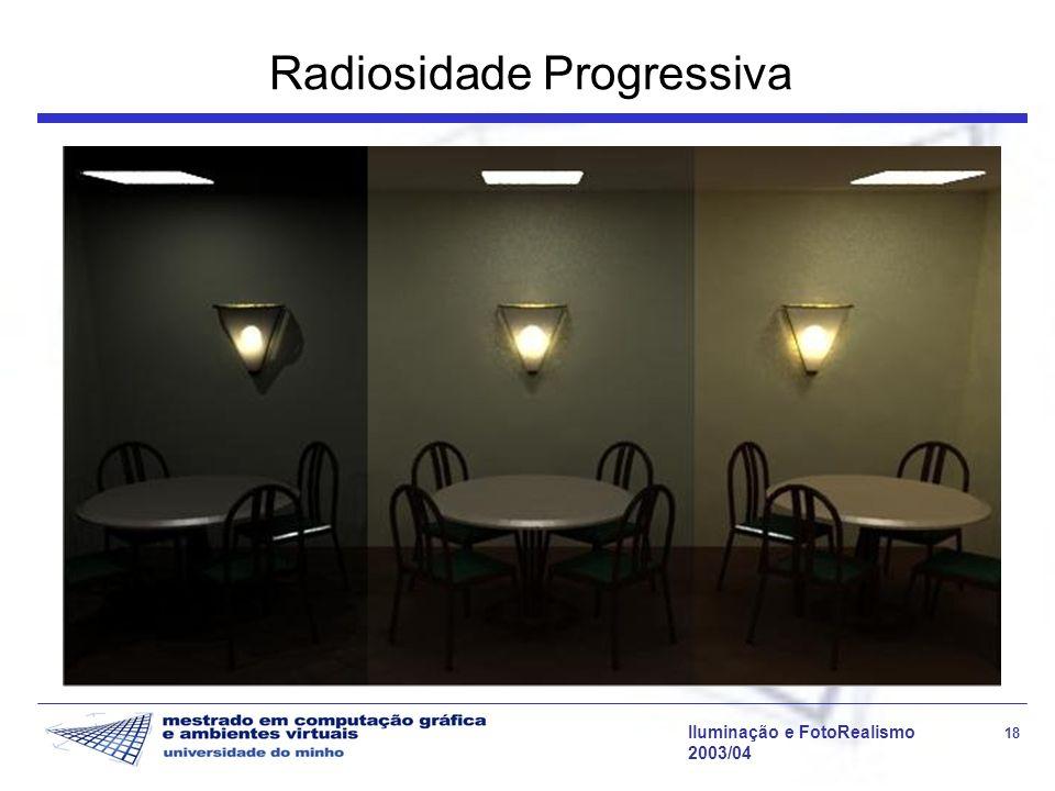 Iluminação e FotoRealismo 18 2003/04 Radiosidade Progressiva