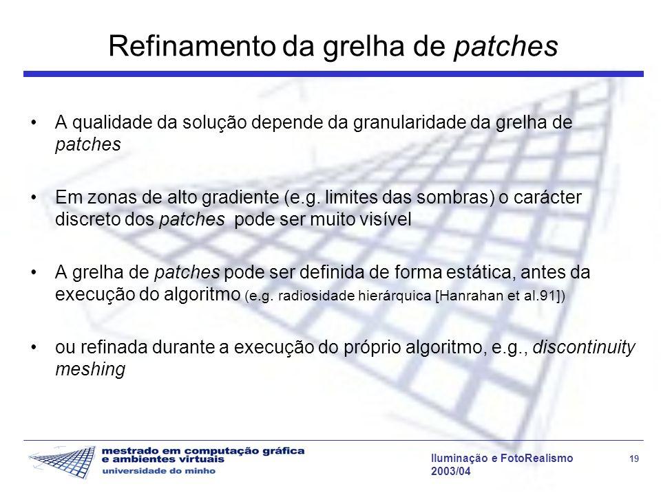 Iluminação e FotoRealismo 19 2003/04 Refinamento da grelha de patches A qualidade da solução depende da granularidade da grelha de patches Em zonas de