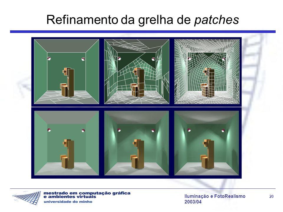 Iluminação e FotoRealismo 20 2003/04 Refinamento da grelha de patches