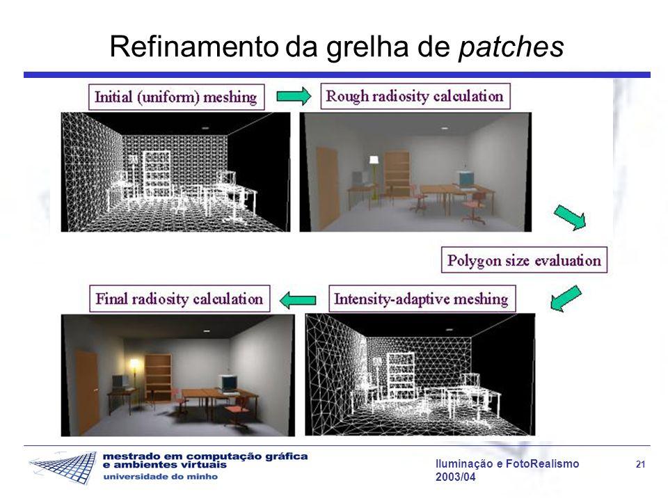 Iluminação e FotoRealismo 21 2003/04 Refinamento da grelha de patches