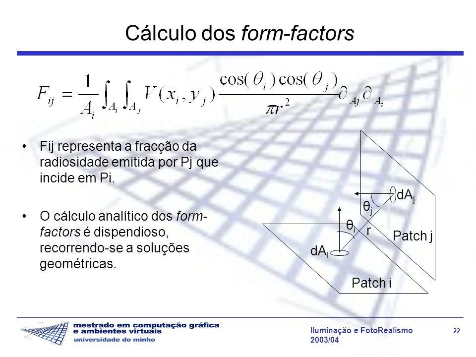 Iluminação e FotoRealismo 22 2003/04 Cálculo dos form-factors Fij representa a fracção da radiosidade emitida por Pj que incide em Pi. O cálculo analí
