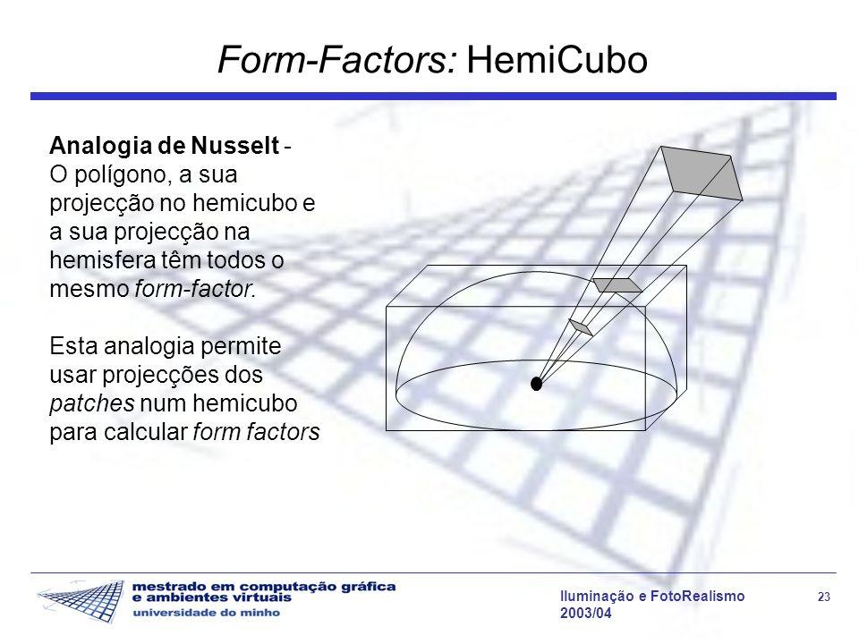 Iluminação e FotoRealismo 23 2003/04 Form-Factors: HemiCubo Analogia de Nusselt - O polígono, a sua projecção no hemicubo e a sua projecção na hemisfe