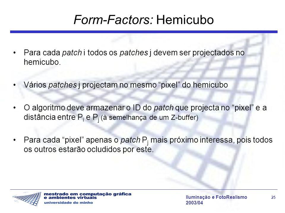 Iluminação e FotoRealismo 25 2003/04 Form-Factors: Hemicubo Para cada patch i todos os patches j devem ser projectados no hemicubo. Vários patches j p