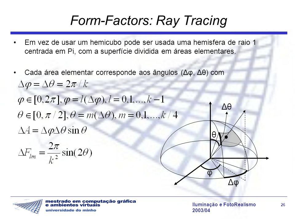Iluminação e FotoRealismo 26 2003/04 Form-Factors: Ray Tracing Em vez de usar um hemicubo pode ser usada uma hemisfera de raio 1 centrada em Pi, com a