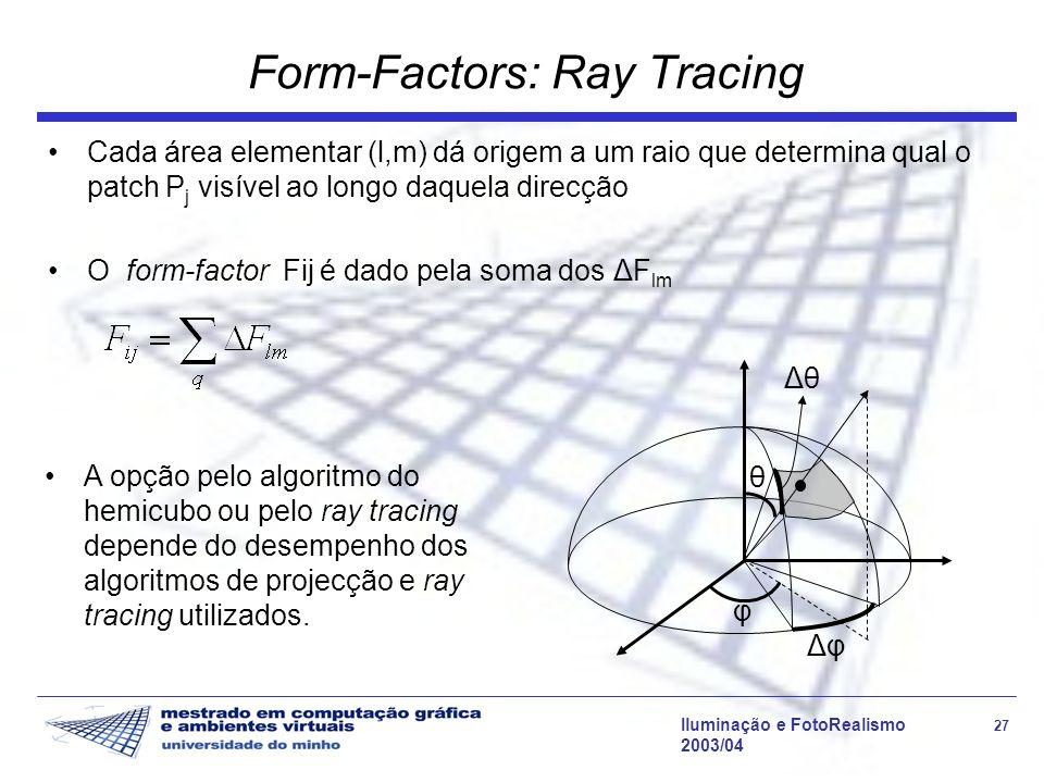 Iluminação e FotoRealismo 27 2003/04 Form-Factors: Ray Tracing Cada área elementar (l,m) dá origem a um raio que determina qual o patch P j visível ao
