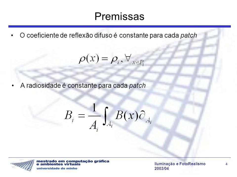 Iluminação e FotoRealismo 4 2003/04 Premissas O coeficiente de reflexão difuso é constante para cada patch A radiosidade é constante para cada patch