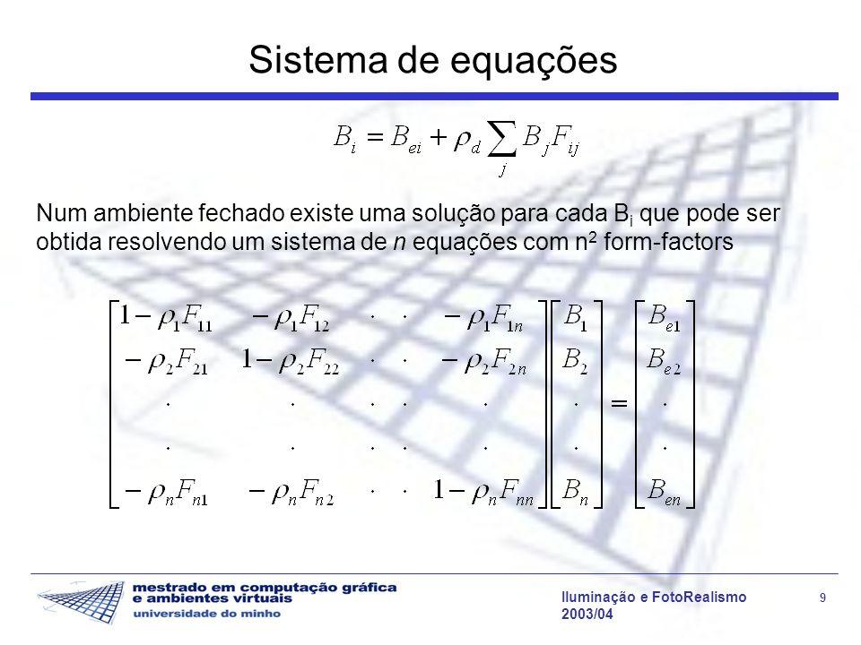 Iluminação e FotoRealismo 9 2003/04 Sistema de equações Num ambiente fechado existe uma solução para cada B i que pode ser obtida resolvendo um sistem
