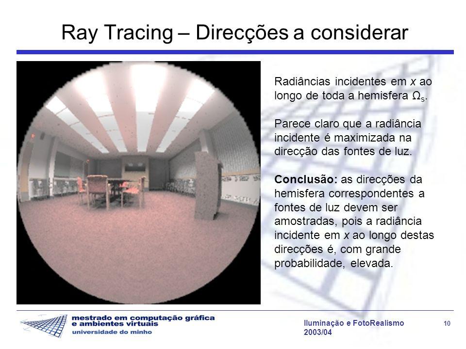 Iluminação e FotoRealismo 10 2003/04 Ray Tracing – Direcções a considerar Radiâncias incidentes em x ao longo de toda a hemisfera Ω s. Parece claro qu