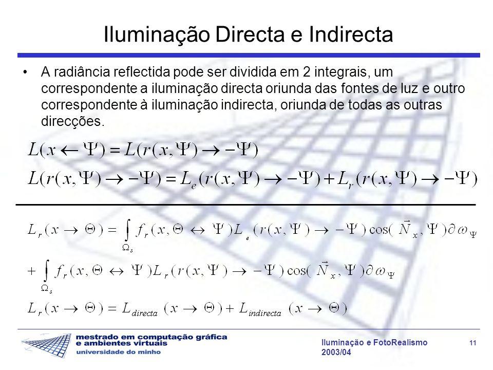 Iluminação e FotoRealismo 11 2003/04 Iluminação Directa e Indirecta A radiância reflectida pode ser dividida em 2 integrais, um correspondente a ilumi